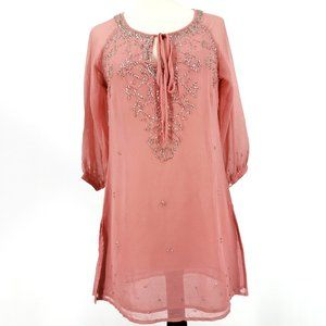 Penny Lane Sequined Soft Pink Tunic/Dress SZ M